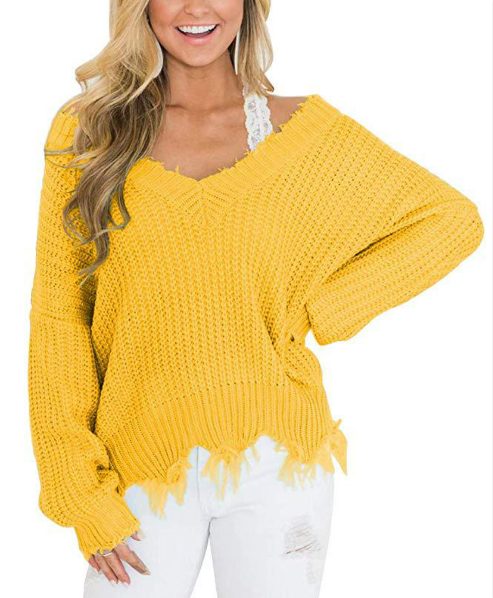 Women's Sweater Loose Long Sleeve Jumpers V Neck Casual Off