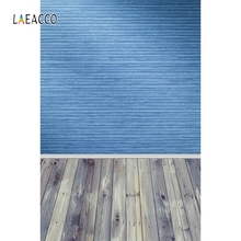 купить Laeacco Blue textured Wall Wooden Floor Portrait Doll Photography Backgrounds Customized Photographic Backdrops For Photo Studio дешево