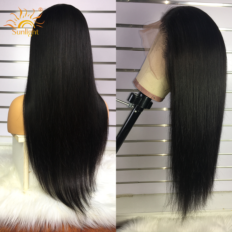 Image 5 - 360 Lace Frontal Wig Peruvian Straight Hair Pre Plucked With Baby Hair Remy Lace Front Human Hair Wigs 150 Density Sunlight Hair-in Human Hair Lace Wigs from Hair Extensions & Wigs