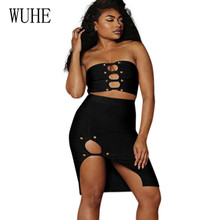 WUHE Sexy Open Chest Two Pieces Sets Bodycon Party Dress Elegant Summer Women Black Off Shoulder Hollow Out Split Dresses