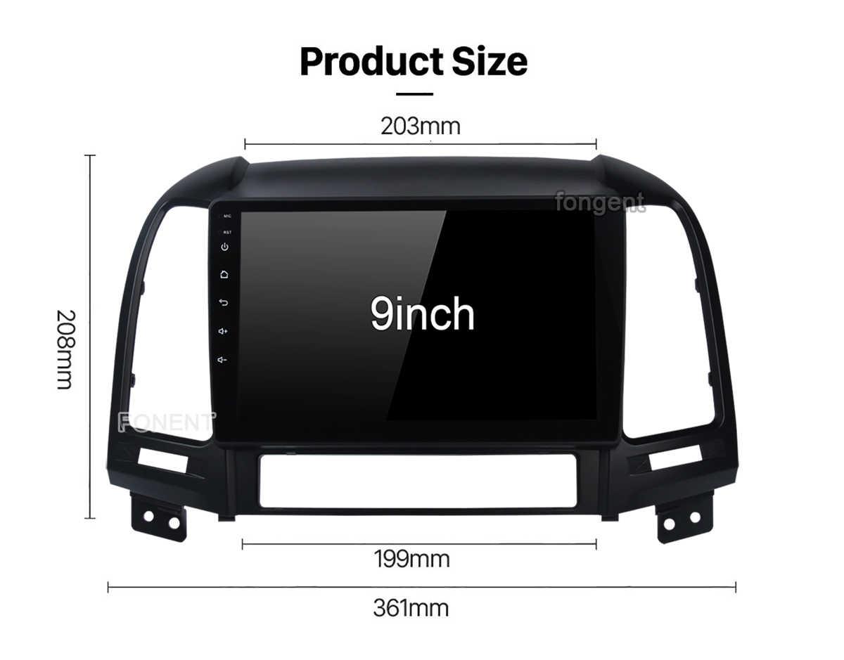 Dla Hyundai Santa Fe 2005 2006 2007 2008 2009 2010 2011 2012 Android 9.0 samochodowe Radio odtwarzacz multimedialny Gps jednostka główna Stereo Audio