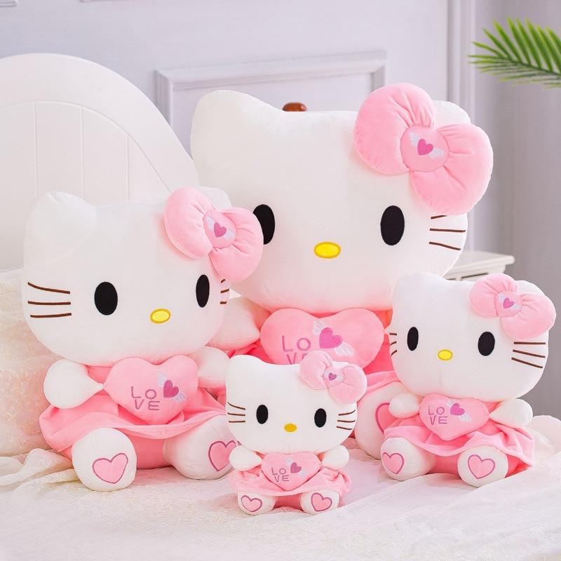Hellos Kitty Plush Toys Kawaii Short Plush Pillow Pink Bow Dress Dolls Stuffed Cute Children Toys for Girls Gifts