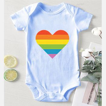 Miłość drukowane kombinezony dziecięce bawełniane noworodki zimowe ubrania chłopięce śpioszki niemowlęce dla niemowląt Rainbow Kids Clothing tanie i dobre opinie Brangdy COTTON CN (pochodzenie) Unisex W wieku 0-6m 7-12m 13-24m List O-neck Swetry Krótki Rompers Pasuje prawda na wymiar weź swój normalny rozmiar