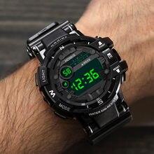 Moda mężczyźni życie wodoodporny LED cyfrowy data wojskowy Sport gumy zegarek kwarcowy Alarm Sport zegarki zegarek dla dzieci Montre
