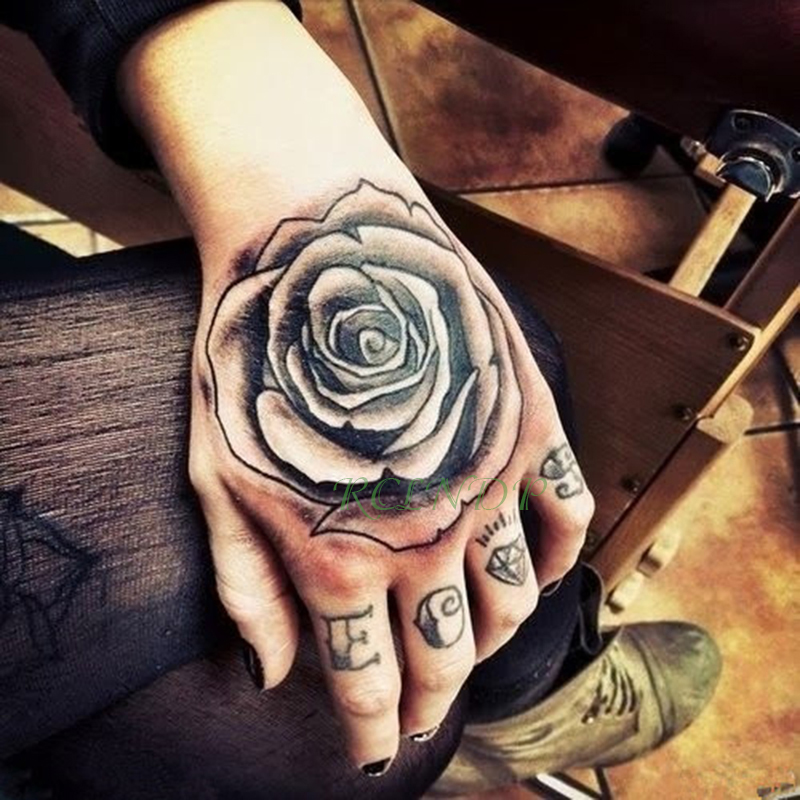 Waterproof Temporary Tattoo Femme Sticker Flower Rose Letter Fake Tatto Flash Tatoo Back Of Hand Foot Tato For Girl Women Men