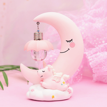 Creative LED Night Light Unicorn Moon Resin Cartoon Night Lamp Romantic Bedroom Decor Night Lamp Baby Kids Birthday girl Gifts hot sale cartoon figure 3d elsa anna bulb night light led lamp colorful atmosphere gadget decor bedroom baby girl kid gifts rc