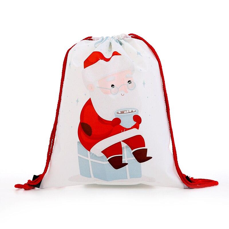 Новый Модный женский рюкзак на шнурке, мини-рюкзак с 3D принтом, дорожные мягкие сумки, мужская сумка для девочек, Санта Клаус, разноцветная
