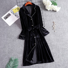 Black long robe Women's pajamas spring autumn new arrival lo