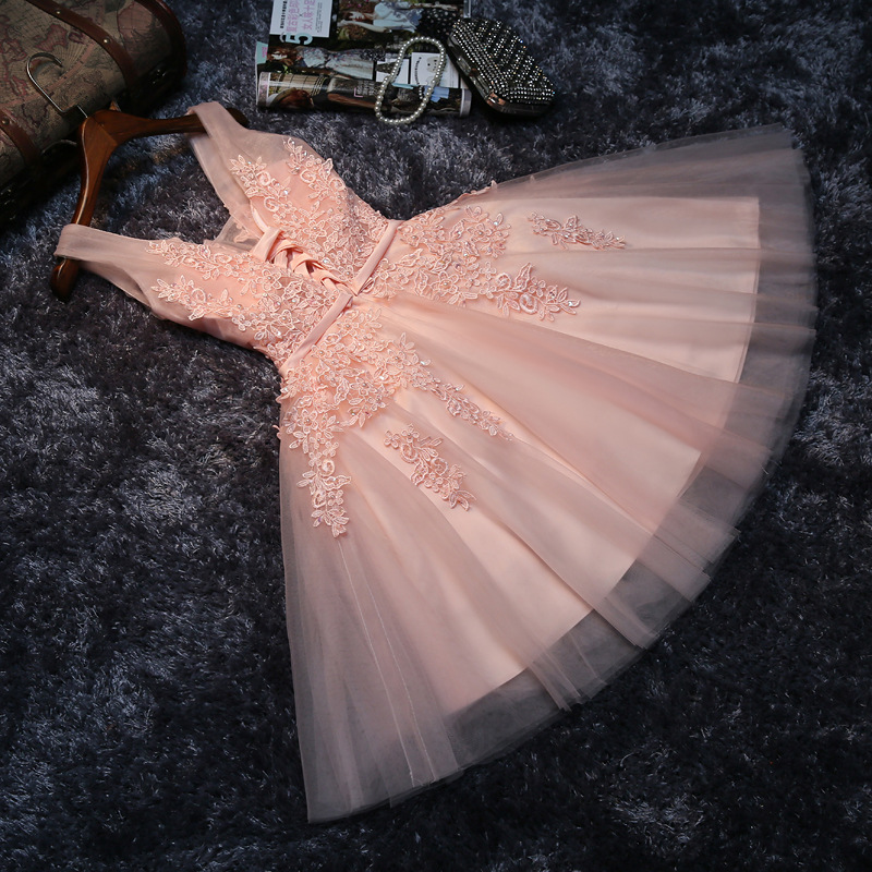 Women's short formal prom evening party dress Plus size lace beading pink wedding party dress sexy cocktail party dress 5