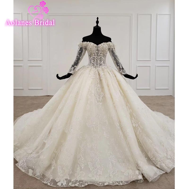 High End Western Wedding Dresse Illusion Long Sleeves Crystal