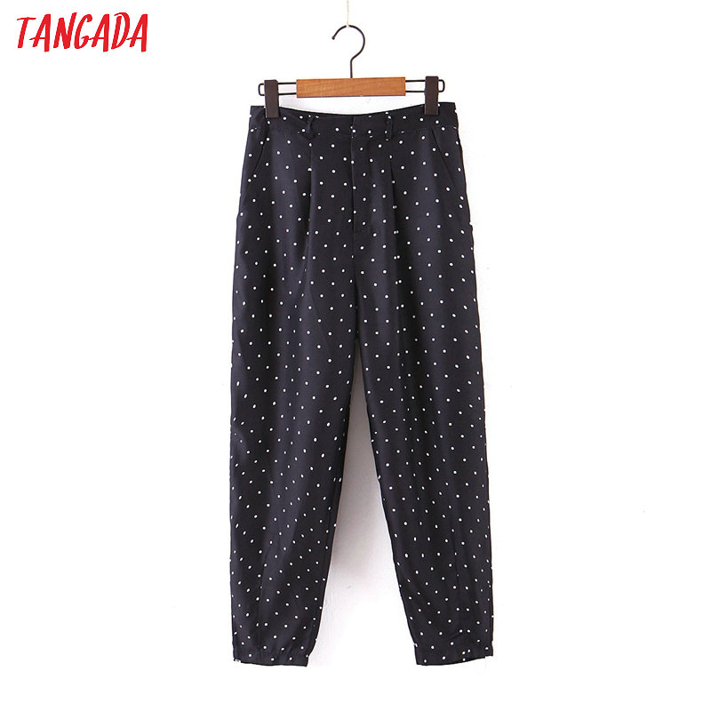 Tangada Fashion Women Black Dots Suit Pants Trousers Pockets Buttons Office Lady Pants Pantalon SL81