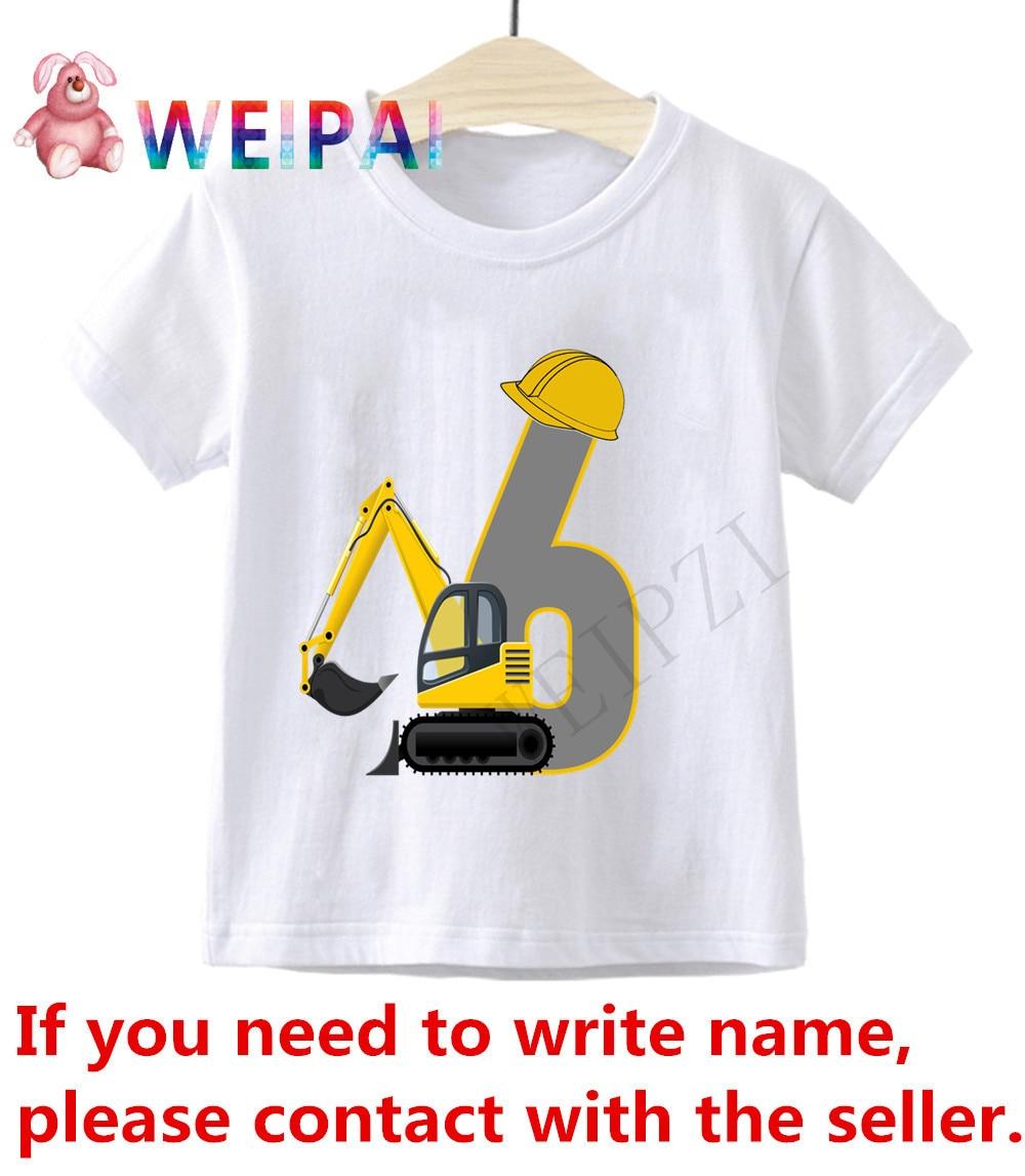 Детская футболка с рисунком «экскаватор» для мальчиков 1-10 лет, детские футболки, Забавные футболки с надписью «имя» для мальчиков и девочек...