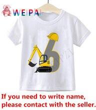 Crianças meninos escavadeira aniversário número 1-10 cartoon t camisa crianças presente t-shirts menino & menina escrever nome engraçado presente 24m-9t camiseta