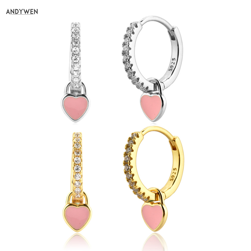 ANDYWEN 925 Sterling Silver Pink Heart Enamel Piercing Pendiente Drop Earring Ciecle Trends Zrcon CZ Crystal Fine Jewelry