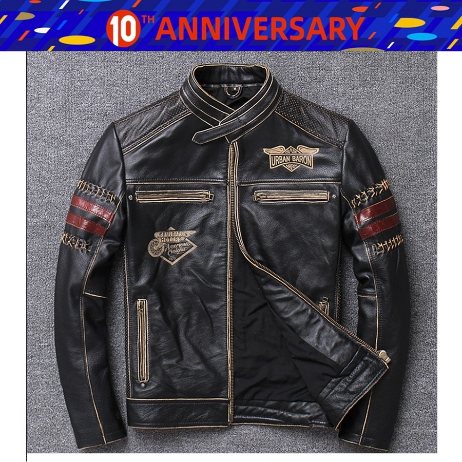 Free Shipping 1pcs Men's Vintage Genuine Cowhide Leather Stylish Jacket Motocross Biker Slim Fit Motorcycle Jacket