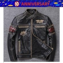 Free shipping 1pcs Men's Vintage Genuine Cowhide Leather Stylish Jacket Motocros