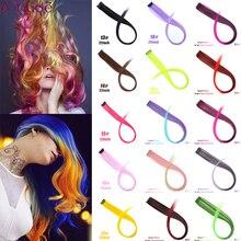 AILIADE, 32 цвета, яркие Радужный Омбре, накладные волосы для женщин и девушек, Синтетические длинные прямые волосы, синтетические волосы на заколках