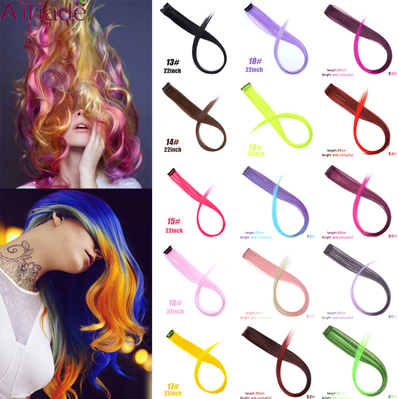 AILIADE 32 Colors Highlight Rainbow Ombre Hair Extensions For Women Girls Synthetic Long Straight Hair Synthetic Hair Clip