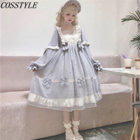 2Color Autumn Winter Women's High Waist Lolita Dress Sweet Girls Handmade Luxury Bowknot pearl JSK Lolita Dress Long Sleeve