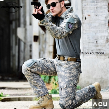 Army Military Uniform Airsoft Shooting Combat Suits Outdoor Hunting Suit Sets with Elbow Pad & Knee Pads Tactical Suits