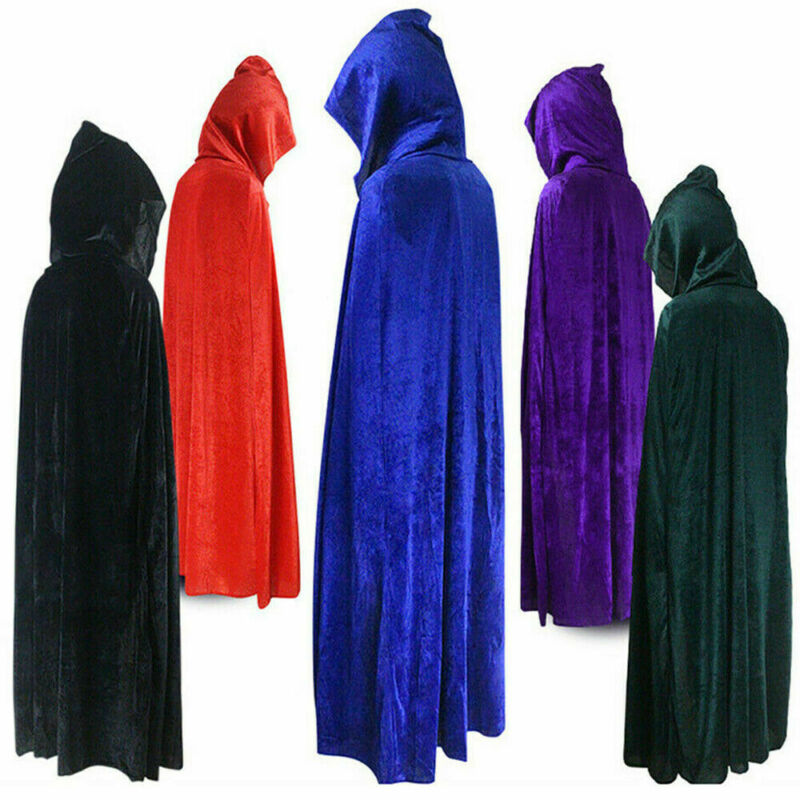 Gothic Hooded Cloak Adult Elf Witch Long Purim Carnival Halloween Cloaks Capes Robe Larp Women Men Vampires Grim Reaper Party
