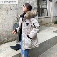 Women's Winter Jacket korean Running Man Down Cotton Padded Coat Female Long Real Raccoon Fur Parka Outwear manteau femme L541