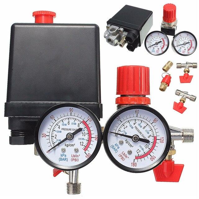 240 فولت التيار المتناوب منظم الثقيلة مضخة ضاغط الهواء مفتاح التحكم بالضغط مضخة هواء صمام التحكم 0 180 Psi مع مقياس