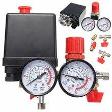 240v acレギュレータヘビーデューティエアコンプレッサーポンプ圧力制御スイッチ空気ポンプ制御バルブ 0 180 psiゲージ