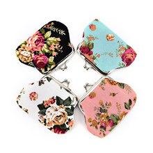 Moda 1 Uds nuevas rosas elegantes de lona Mini monederos monedero cero monedero niño niña mujer cambio monedero, señora billeteras cero, monedero