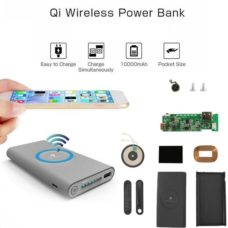 DIY Wireless Chager Power Bank Case Unassembled Solar Power Bank Case Kit For 126090 Polymer Batteries (Not Included)