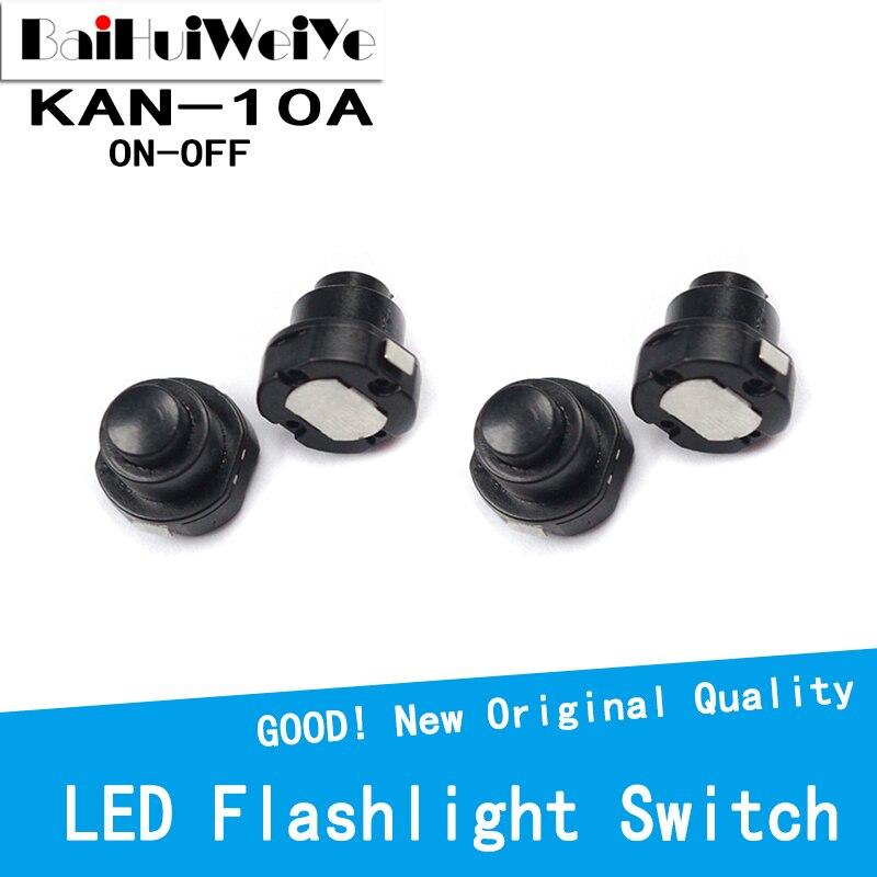 20PCS 1010X Small Round Cone Circular Flashlight Button Push Switch KAN-10A Self-Locking Switch ON-OFF
