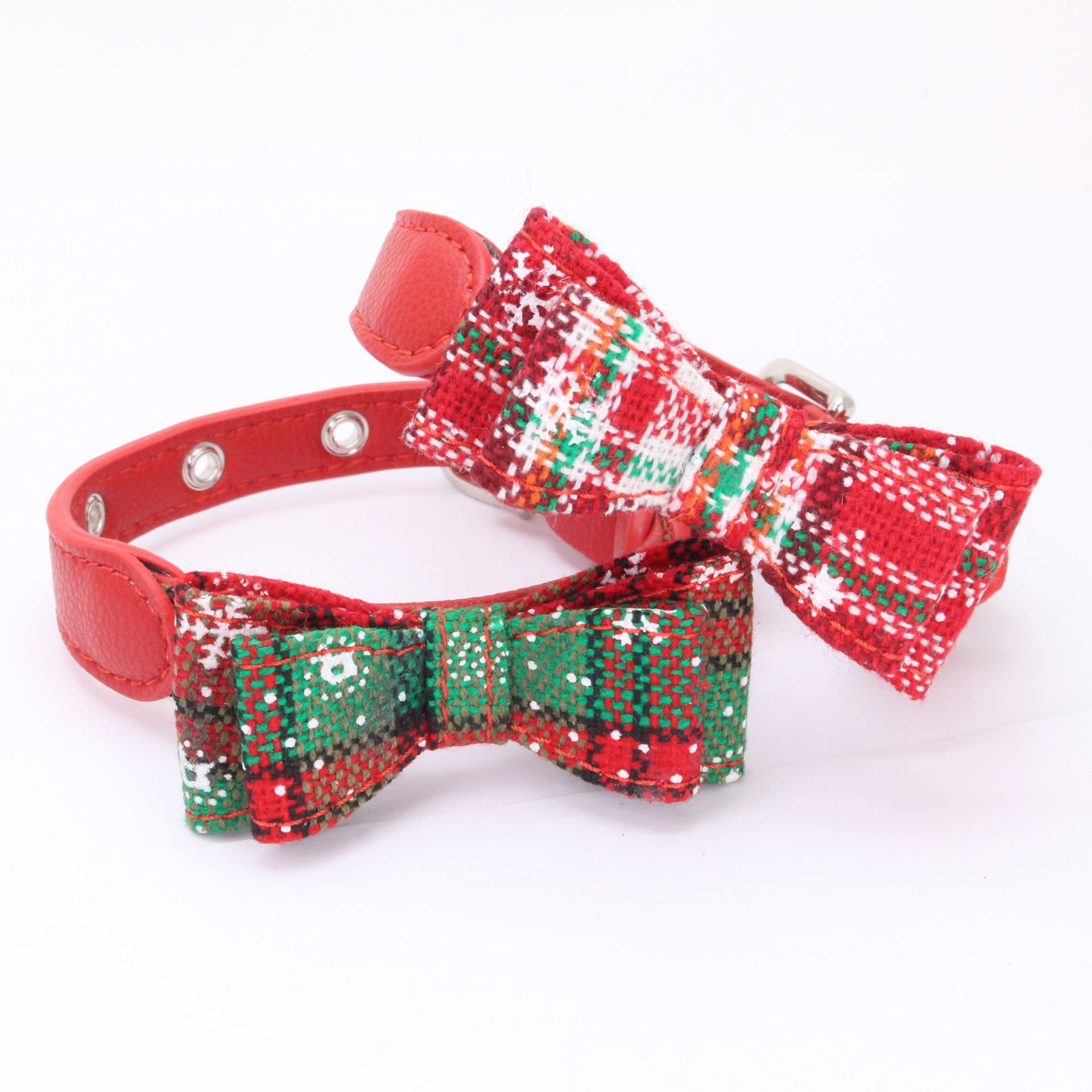 Dog Collar Christmas Pet Collar Double Layer Fabric Cat Collar Bow