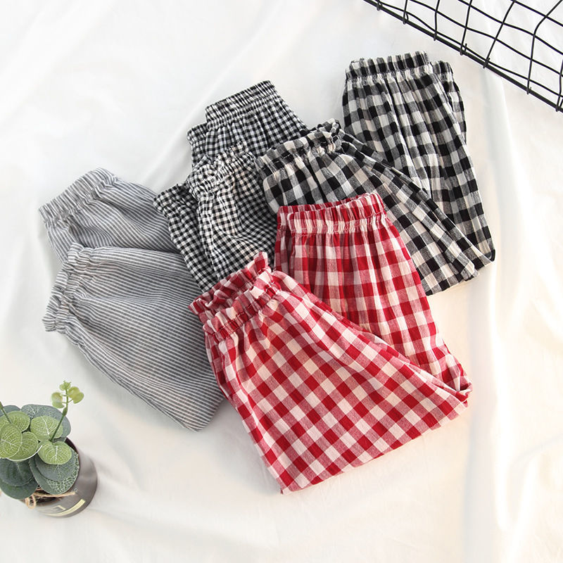 VIDMID Baby kids Boys girls cotton plaid pants trousers spring summer baby kids children casual fashion pants trousers P2082 1