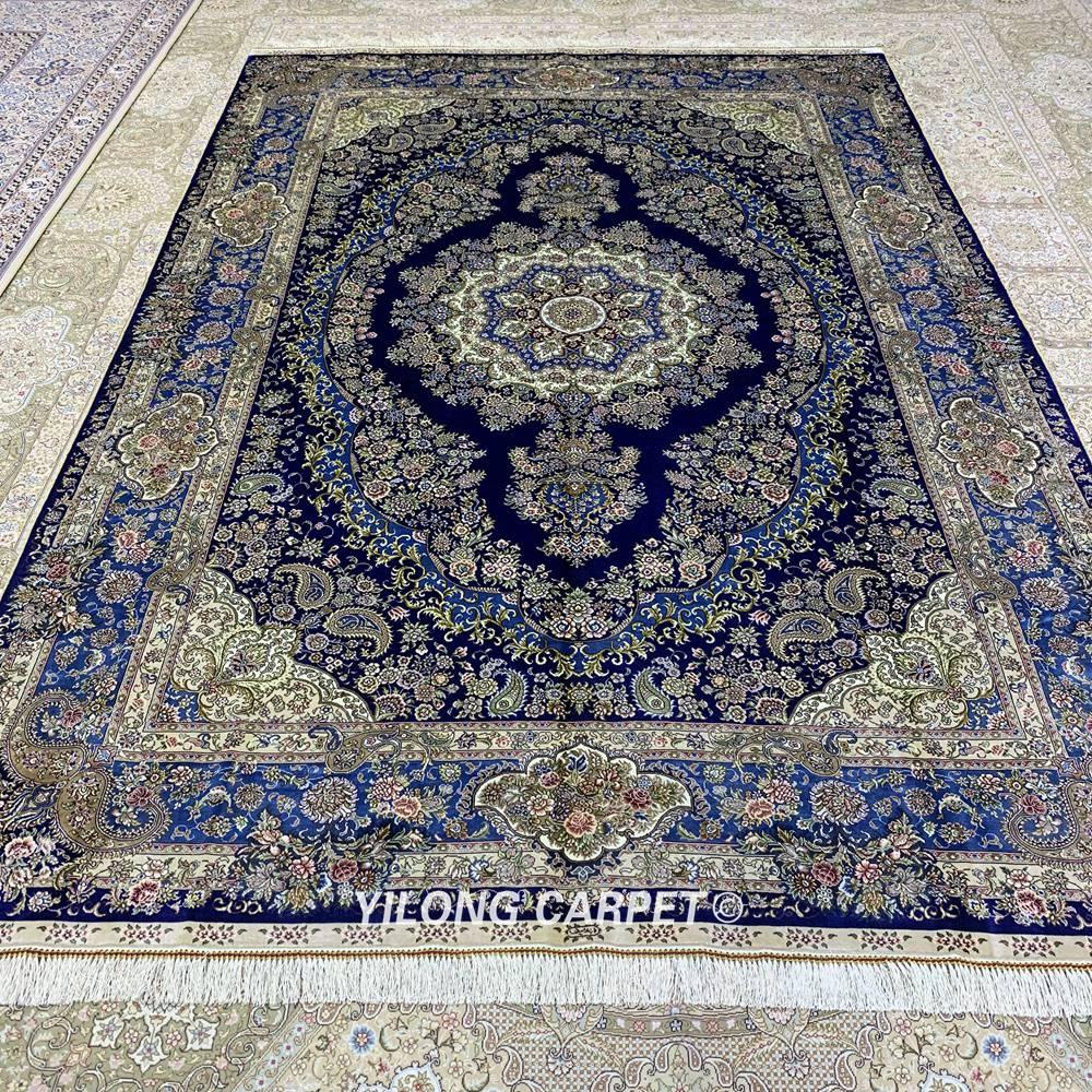 Yilong 6'x9 'Vantage persain alfombra de dormitorio azul oscuro hecha - Textiles para el hogar - foto 2