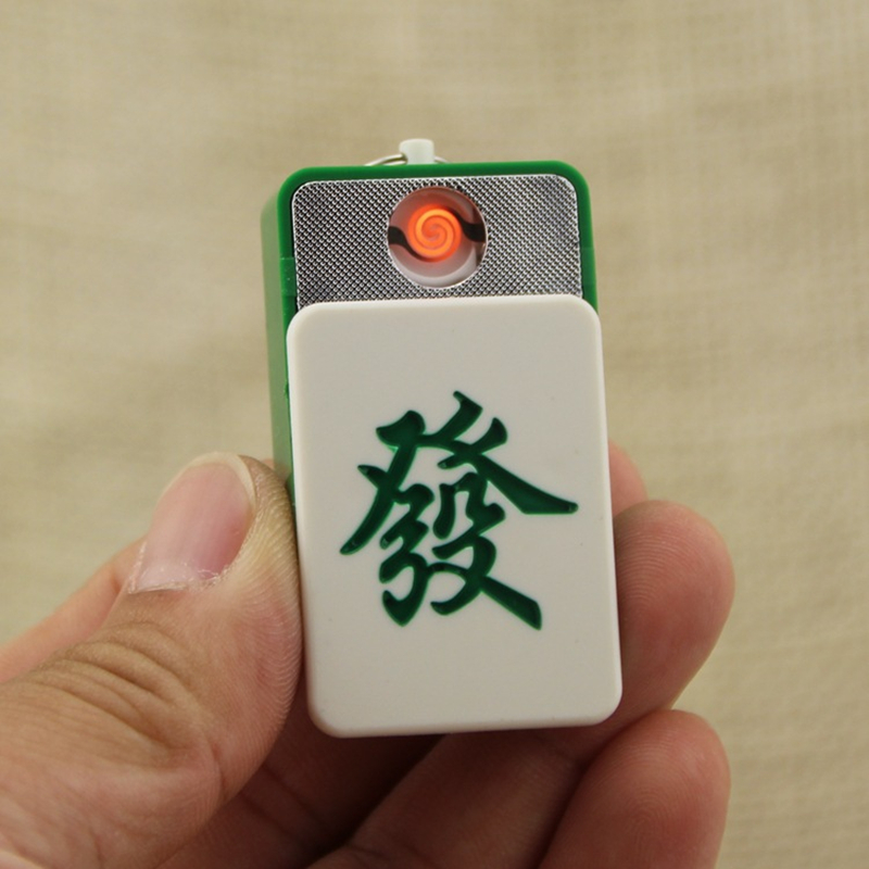 Creative USB Electric Lighter Rechargeable Turbo Mahjong Keychain Windproof Metal Plasma Lighter For Cigarette Gadgets For Men
