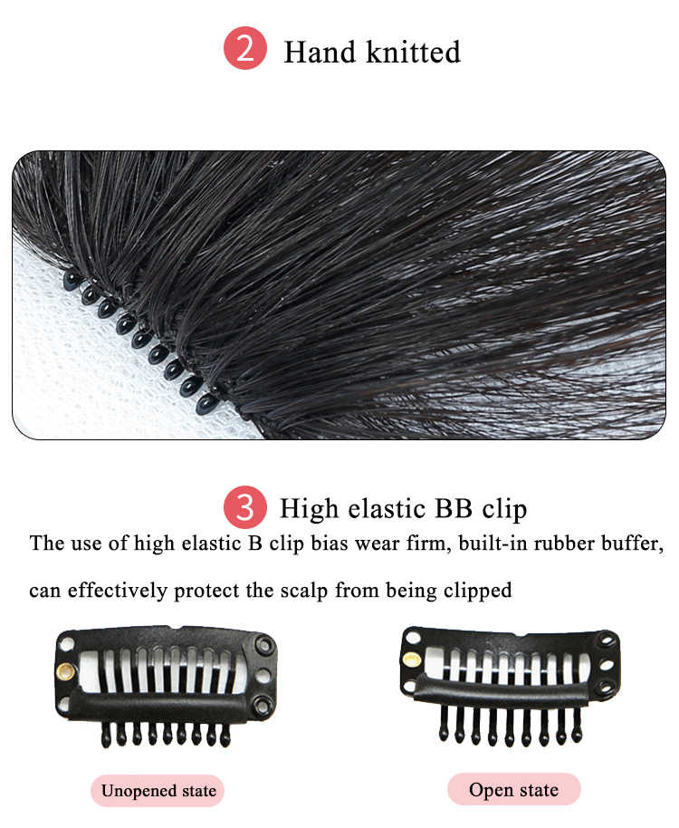 WTB передняя застежка в заколка для волос для наращивания короткие прямые синтетические волосы Накладные бахромы шиньоны 3 шт./компл. заколки для наращивания волос
