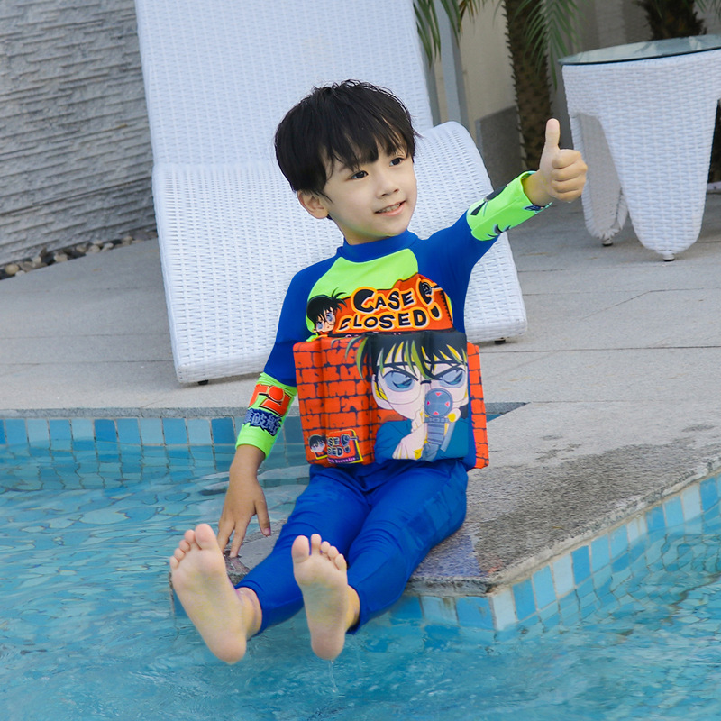 Zipper Siamese Swimsuit BOY'S Suit Conan Buoyancy KID'S Swimwear With Fu Bang Infants Learning Swimming