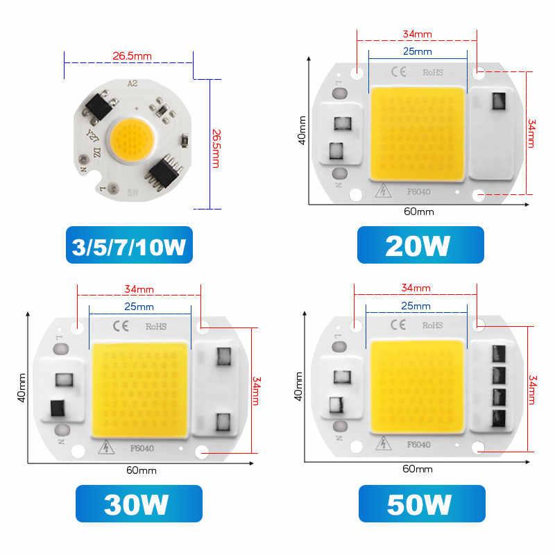 Chip reflector LED 20W 30W 50W 220V Smart IC No necesita controlador 3W 5W 7W bombilla LED para foco de luz de inundación iluminación Diy