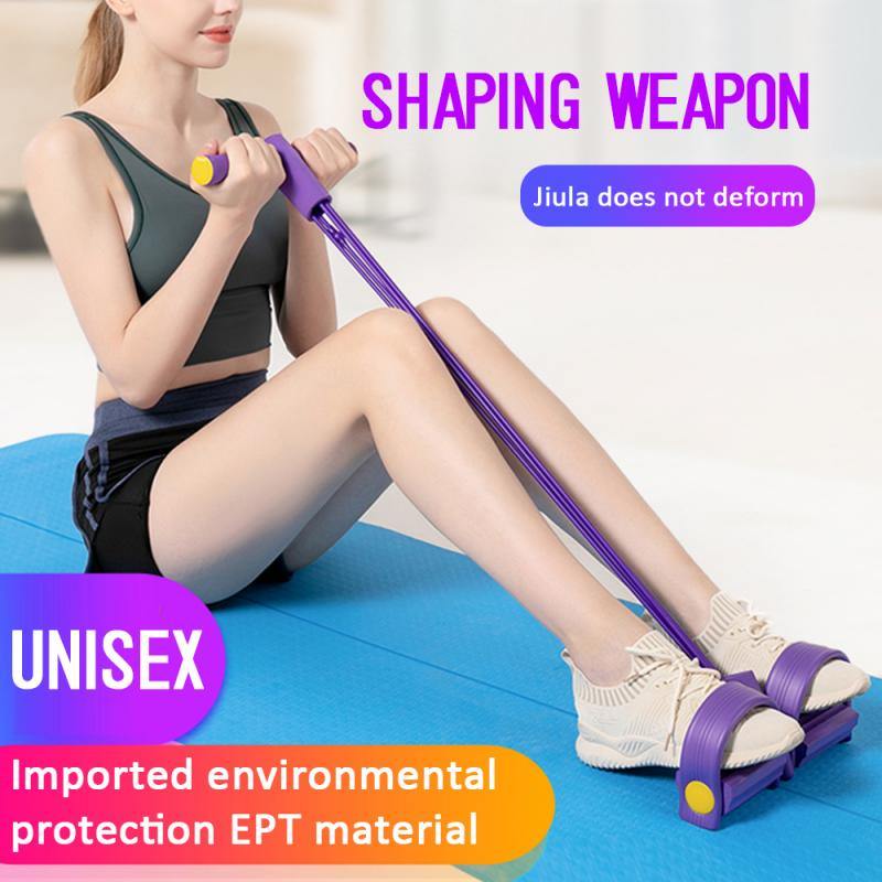 Latex Pedal Exerciser Sit-up <font><b>Fitness</b></font> Gum <font><b>4</b></font> <font><b>Tube</b></font> Resistance Bands Pull <font><b>Rope</b></font> Expander Elastic Bands Yoga equipment Pilates Workout image