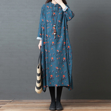 Vintage Autumn Dress Women Oversized Boho Dress Long Sleeve Floral Print Knot Button Pocket Long Robe female Retro Long Dress retro print 3 4 sleeve button smock dress