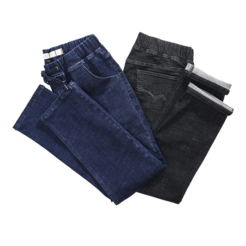 2019 Spring And Autumn New Style Men Plus-sized Jeans Casual Fashion Loose Elastic Waist Trousers Men'S Wear