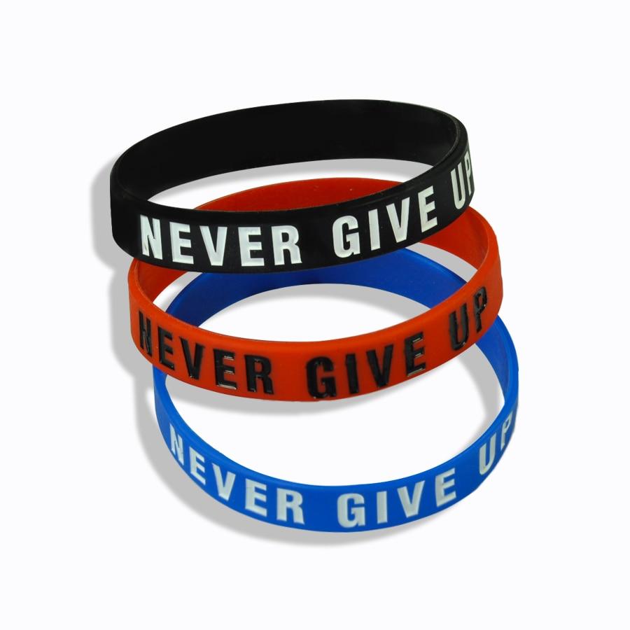 """Never Give Up"" Motivational Bracelet Inspirational Sports Rubber Band Elastic Inspirational Bracelets for Men Accessories"