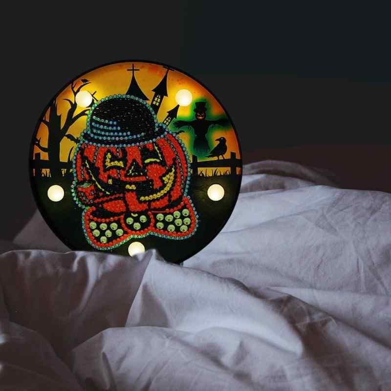 DIY Алмазная картина светодиодный светильник частичная специальная форма Тыква Хэллоуин украшение спальня ночник домашний стол декоративная лампа