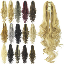 Soowee Long Black Blonde Curly Clip on Hairpiece Extension Clip Pony Tail Synthetic Hair Claw Ponytails Hair Piece(China)