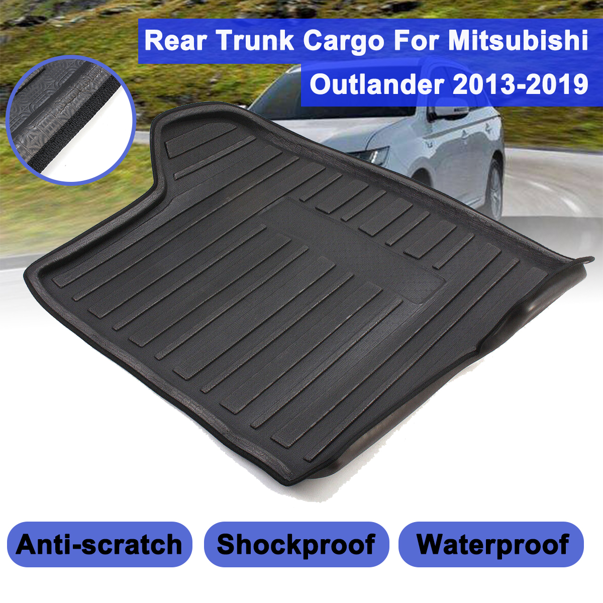 Cargo Liner Rear Trunk For Mitsubishi Outlander 2013 2019 Cargo Floor Mat Waterproof Anti skid Shock proof Buffer Performance|  - title=