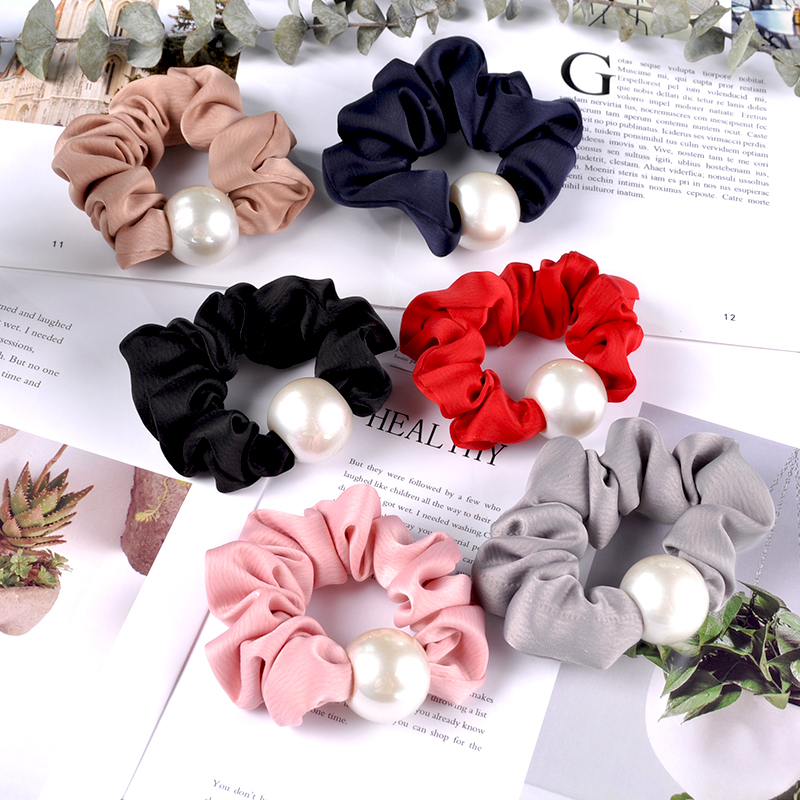 New Women Solid Color Hair Ties Rope Handmade Pearl Eastic Hair Bands Girls Scrunchie Ponytail Holder Hair Accessories Ring Gum