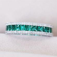 Обручальные кольца для женщин с зеленым Цирконом и серебряным