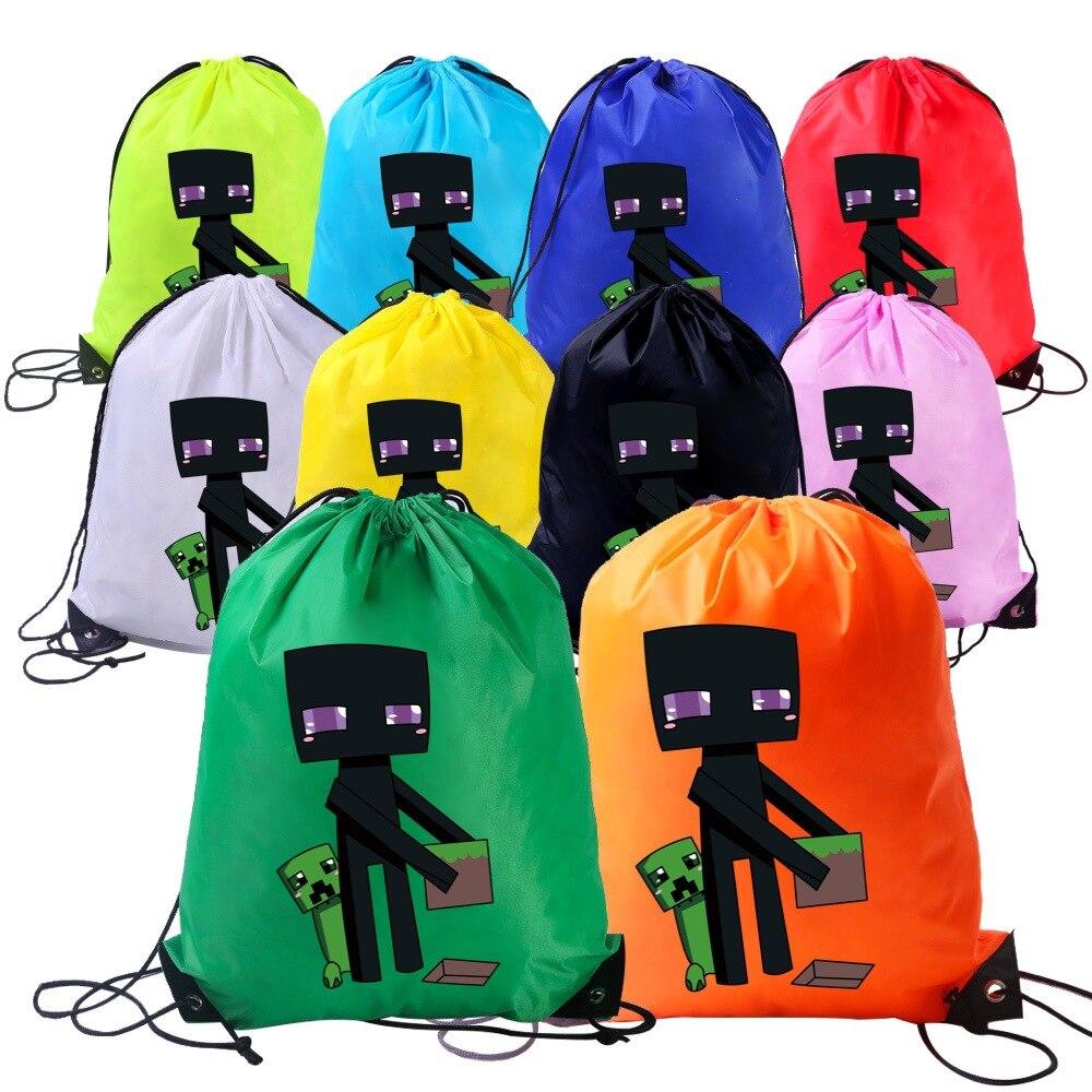 Minecraft de bolsillo bolsa de almacenamiento de dibujos animados de impresión de Anime bonita mochila con cordón bolsa de Eco bolsa deportes bolsa