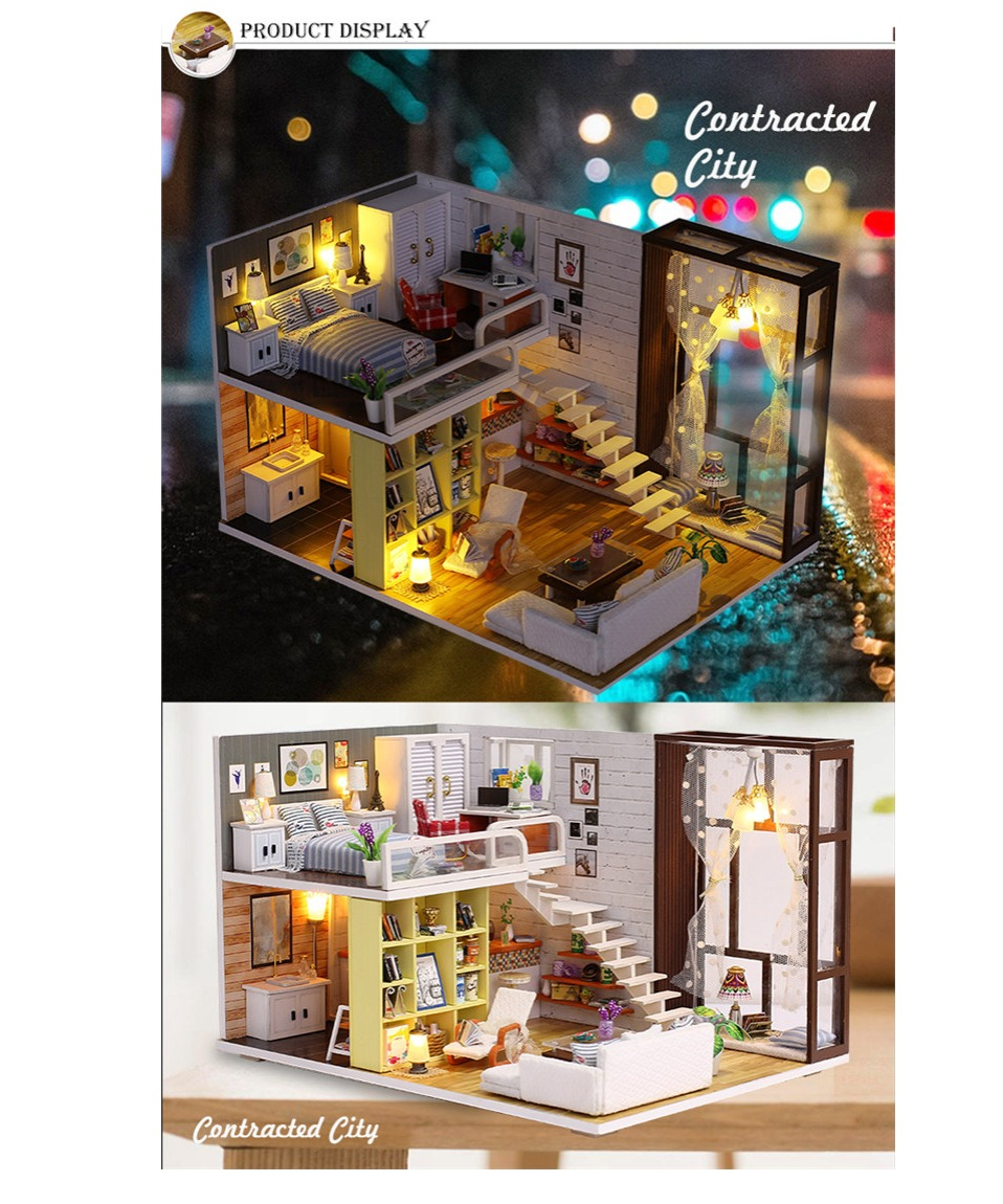 Contracted City DIY 3D Wooden Loft Kit