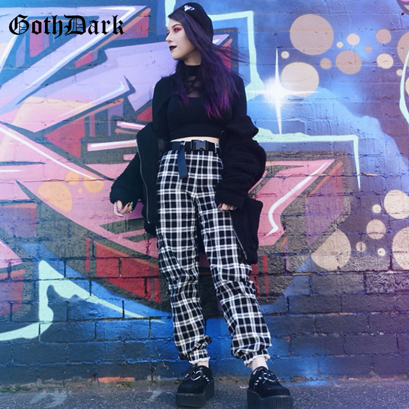 Goth Dark Plaid Gothic Vintage Female   Pants   Harajuku Autumn Winter 2019 Harajuku Punk Grunge Women's Trousers Chic   Capris   Belt